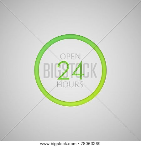 open 24 hours a day icon. neon sign