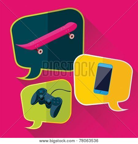 Skateboard, Phone, Joystick In Bubbles