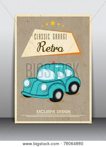 Vintage brochure, flyer or template with retro car for classic garage.
