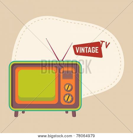 Retro television with anteena and space for your text on beige background.