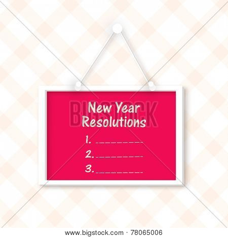Happy New Year celebration with red blank resolutions board hanging on stylish background.