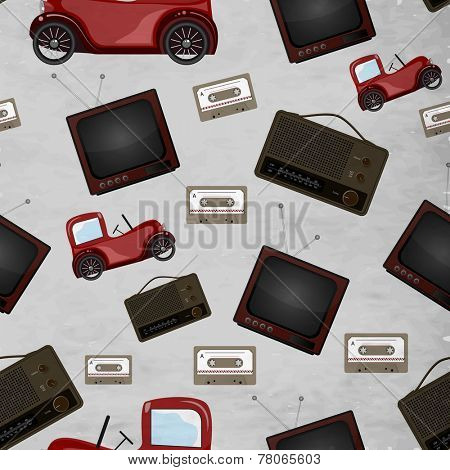 Seamless pattern with retro television, cassette and jeep.