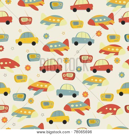 Retro seamless pattern with transistor radio, car and plane.