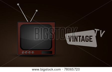 Vintage television with antenna on brown background.