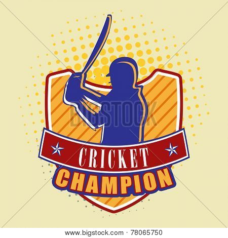 Batsman in playing action on winning shield with Cricket Champion text.