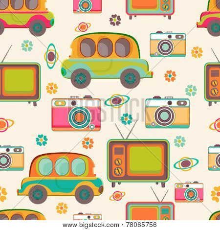 Seamless pattern of retro multicolor cars, transistor radio, camera and flowers.