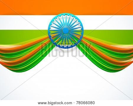 Creative design of National Flag with 3D Ashoka Wheel on white background for Indian Republic Day and Independence Day celebrations.