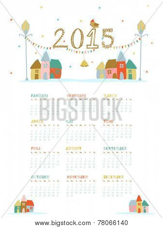 Annual calendar of 2015 with X-mas objects and colorful huts for Happy New Year celebrations.