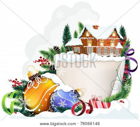 Brick House And Christmas Ornaments