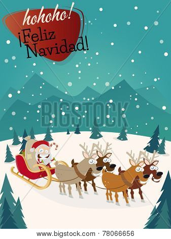 feliz navidad christmas greeting card