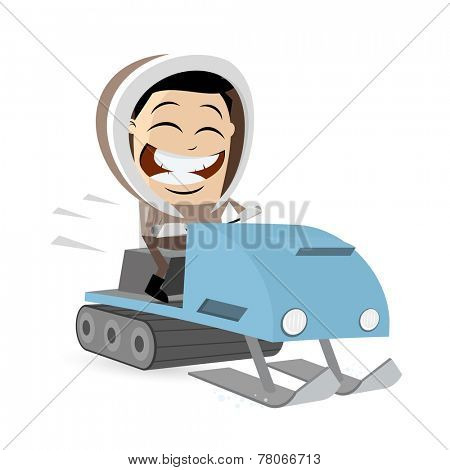funny cartoon man with snowmobile
