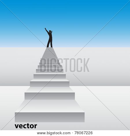 Vector concept or conceptual 3D white stair climbing a wall with a business happy winner man over sky background