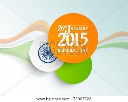 National flag colors sticky design with text 26th January 2015 and Ashoka Wheel on tricolor waves decorated blue background for Indian Republic Day celebrations.