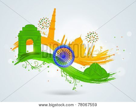 Famous Indian monuments with Ashoka Wheel on floral decorated paint stroke in national flag colors for Indian Republic Day and Independence Day celebrations.