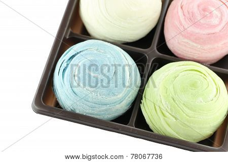 Thailand Of Colorful Mochi Sweets In Black Box Of Isolated.