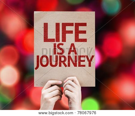 Life is a Journey card with colorful background with defocused lights