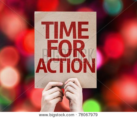 Time For Action card with colorful background with defocused lights