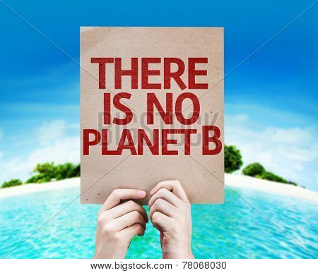 There Is No Planet B card with a beach background