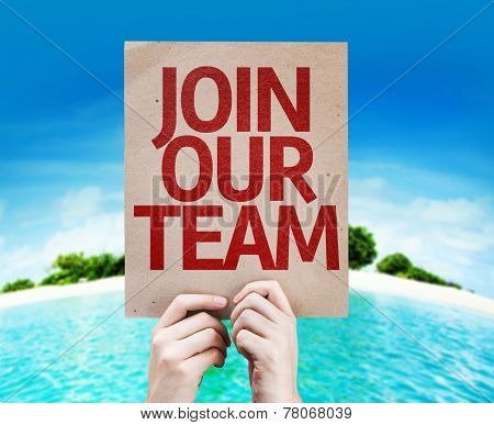 Join Our Team card with a beach on background