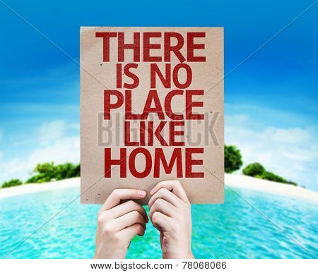 There Is No Place Like Home card with a beach background