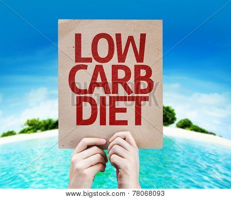 Low Carb Diet card with a beach on background