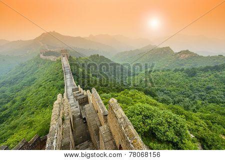 Great Wall of China at the Jinshanling unrestored section.
