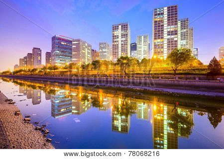 Beijing, China Central Business District city skyline on the Tonghui River.