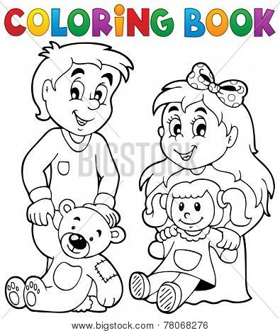 Coloring book children with toys 1 - eps10 vector illustration.