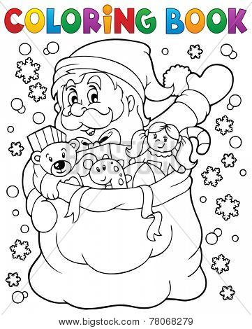 Coloring book Santa Claus in snow 4 - eps10 vector illustration.