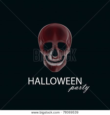 vector illustration of a human  skull. halloween party poster, flyer or invitation card design