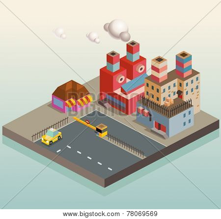 Manufacture Factory district area. isometric vector illustration