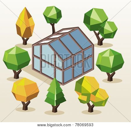 Green House and trees. isometric vector illustration