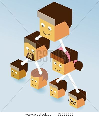 Isometric Multi Level Marketing. Vector illustration