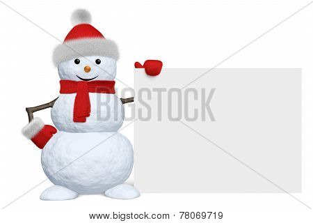 Snowman With Blank White Board Isolated
