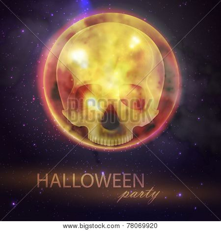 Halloween vector illustration with full moon and skull on the night sky background. party flyer desi