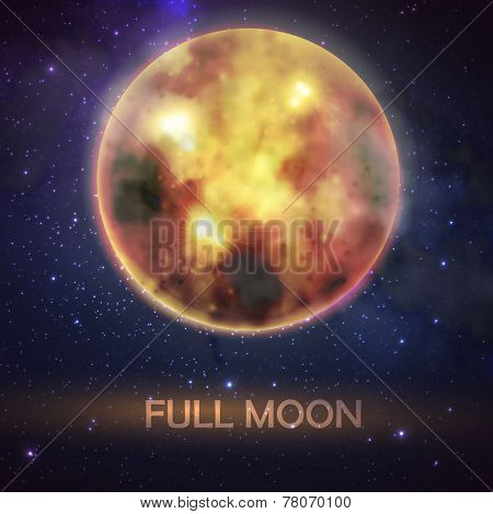 Mystical vector illustration of bloody full moon on the night sky background. halloween decoration d