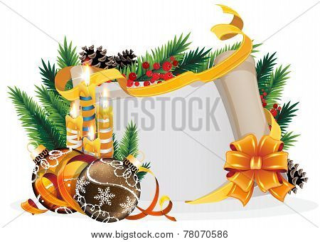 Paper Scroll With Yellow Bow, Candles And Christmas Balls