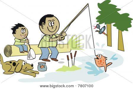 Afro American fishing cartoon