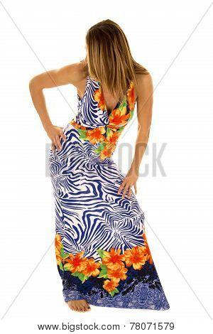 Woman In Hawaiin Dress Head Turned