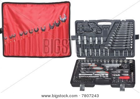 Set Of The Wrenchs  And Set Of Tools In The Box