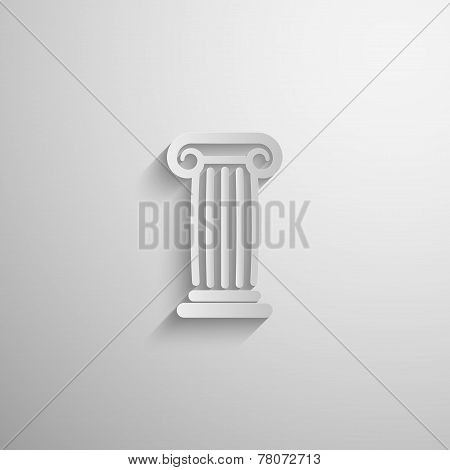 vector illustration of paper 3d ancient column icon with long shadow