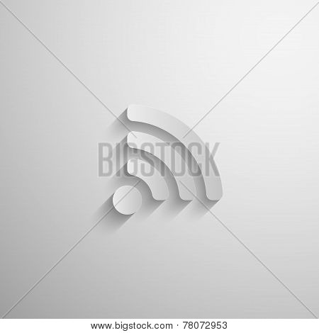 vector illustration of 3d paper wireless network icon with long  shadow