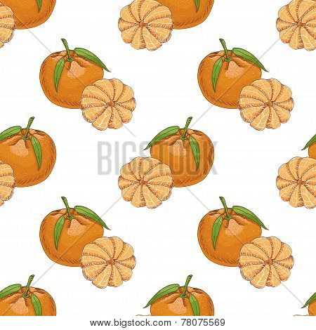 Seamless Pattern With Clementine