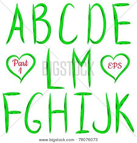 Green handwritten textured letters