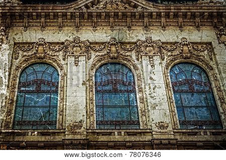 Old Photo With Facade On Classical Building In Belgrade