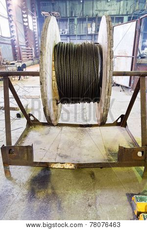Wooden Reel With Steel Rope In Warehouse