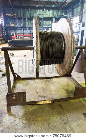 Wooden Reel With Steel Wire Rope In Hargar
