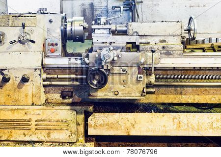 Front View Of Old Metalworking Lathe Machine