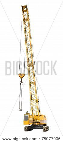 Construction Yellow Crawler Crane Isolated