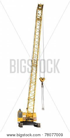 Mobile Yellow Crawler Crane Isolated On White